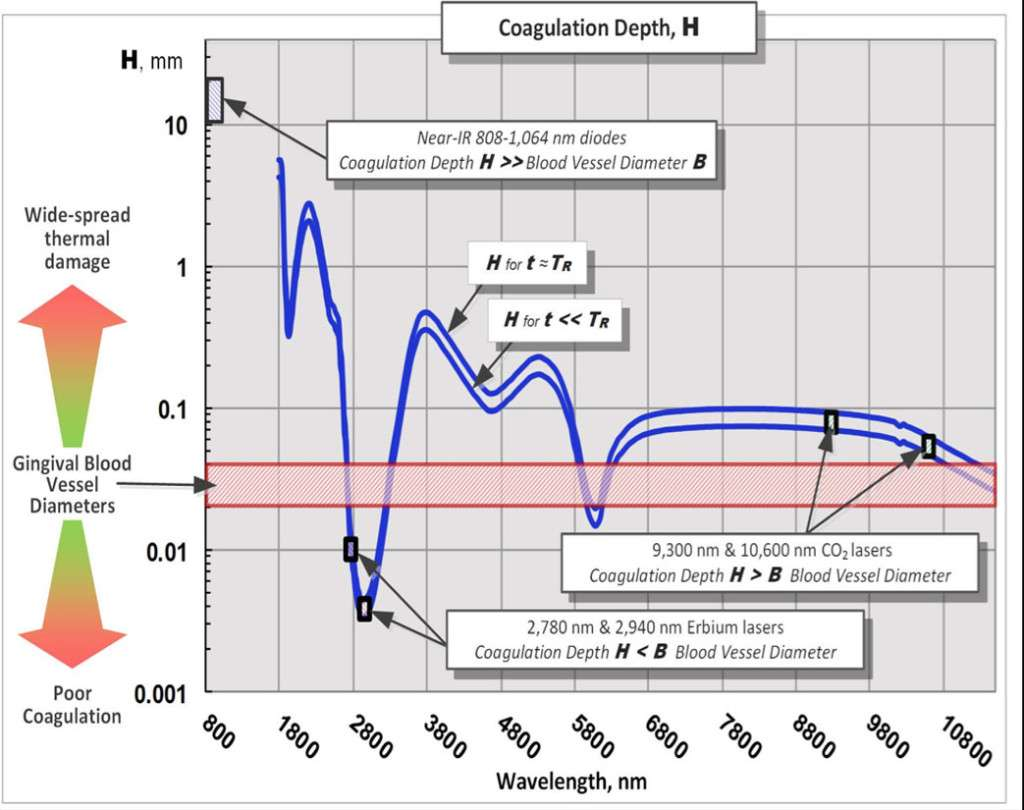 Figure 2: Coagulation depth spectrum for pulsed laser ablation; TR is Thermal Relaxation Time.[1,2] Logarithmic scale is in use
