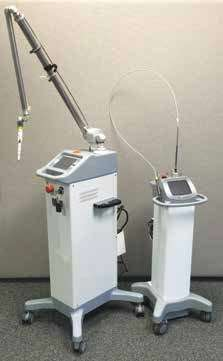 Figure 1A: Articulated arm (left) and flexible fiber (right) dental soft tissue 10,600 nm CO2 lasers. (Photo courtesy of LightScalpel, LLC)