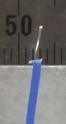 Figure 6: Thermocouple Tip is photographed against 1-mm mark scale