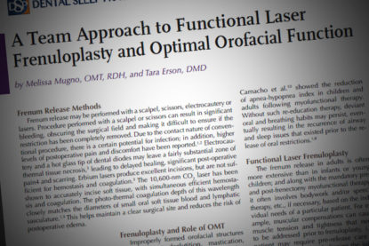 A Team Approach to Functional Laser Frenuloplasty and Optimal Orofacial Function